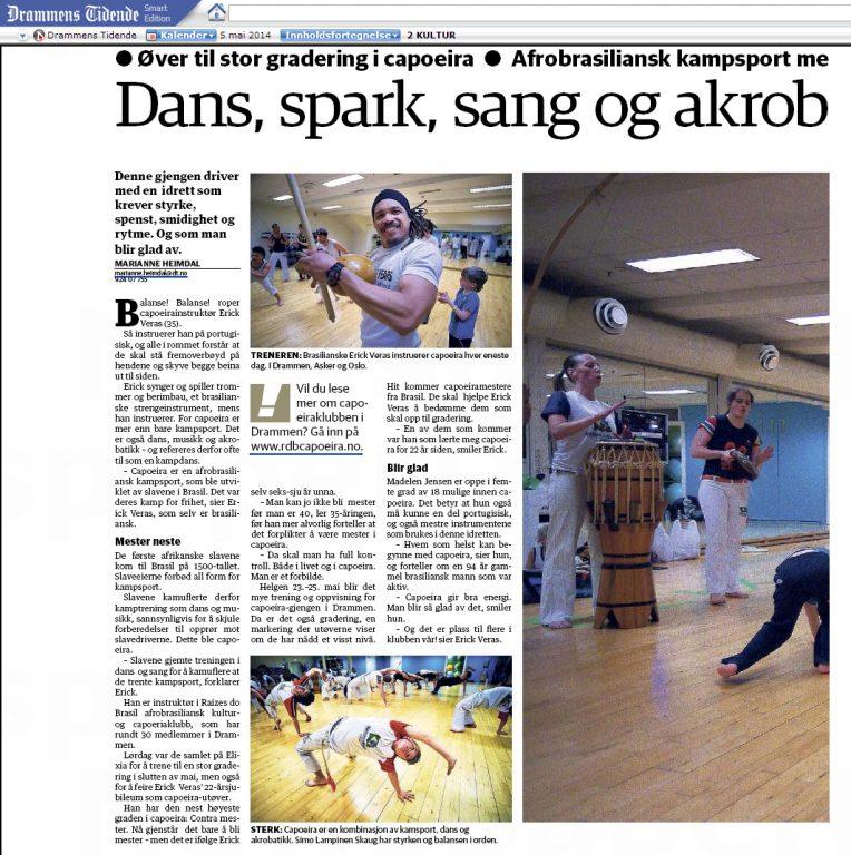 Øver til gradering - Artikkel i Drammens Tidende